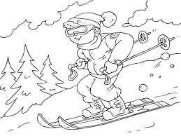 free winter coloring pages skiing printable winter coloring
