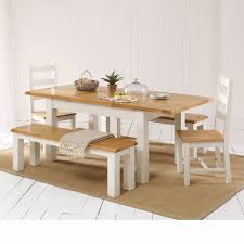 cotswold country cream painted dining table 2 chair 2 benches set