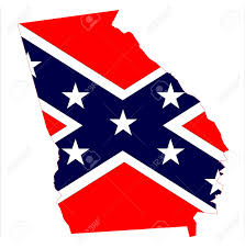 Ga State Flags State Map Outline Of Georgia With Confederate Flag Over A White