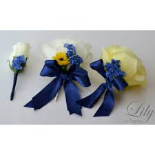 Royal Blue Corsage And Boutonniere Yellow Navy Blue Ivory Fall Sunflower Bouquets Corsages