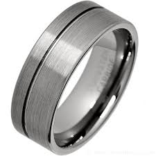 titanium tungsten rings images Men 39 s brushed tungsten carbide ring with offset groove jpg