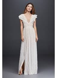 plunging neckline embroidered chiffon dress with plunging neckline david s bridal