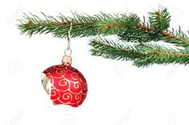 detail of christmas tree with a broken red glass ball stock photo