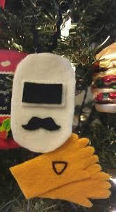 welders helmet gloves felt ornament made it just for