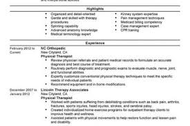 Sample Resume For Physical Therapist by Physical Therapy Assistant Resume Objectives Reentrycorps