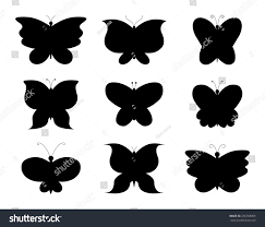 butterfly collage collection butterflies black silhouettes stock