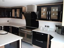 luxury modern black kitchen featuring rectangle shape black