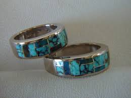 turquoise wedding rings matching wedding rings 7 mm wide 14 karat white gold ring and