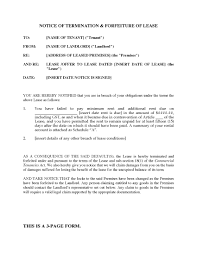 Notice To Vacate Apartment Letter Notice Of Lease Termination Business Form Template 10 Lease