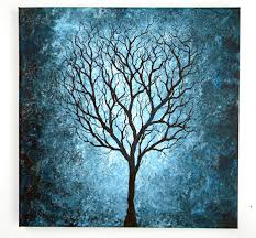 blue tree painting 12x12 by blablover5 on deviantart