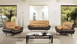 Yellow Leather Sofa by Ae709 Y Br Yellow Brown Leather Sofa Set 3 Pcs Slick Furniture