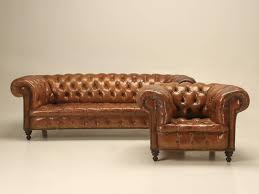antique leather chesterfield sofa in original leather leather