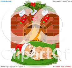 clipart cute christmas puppy sleeping on a bed by a fireplace