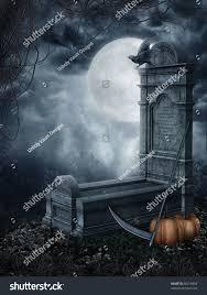 halloween tombstones on a black background halloween scenery spooky tombstone pumpkins stock illustration