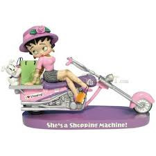 betty boop thanksgiving inch shopping machine figurine with betty boop on pink motorcycle