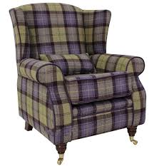 Check Armchair Wool Tweed Wing Chair Fireside High Back Armchair Plaid Blackberry