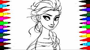 learn coloring elsa kids cartoons disney frozen princess coloring
