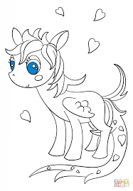 kawaii pegasus pony coloring page free printable coloring pages