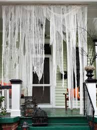 Curtains For Front Doors Make Ghostly Outdoor Draperies For Halloween Hgtv