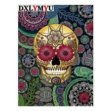 3d diy painting pale yellow sugar skull w flower