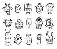 pattern funny monsters graffiti hand drawn sketch art stock