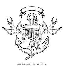 nautical anchor ribbon stock illustration 130667684