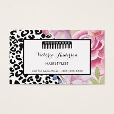 trendy leopard print floral hairstylist with comb business card
