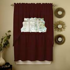 kitchen wine opaque solid ribcord kitchen curtain with tier