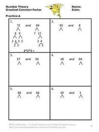 greatest common factor worksheets u0026 activities greatschools