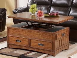 hidden storage lift top coffee table with oak material for small