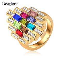 aliexpress buy beagloer new arrival ring gold beagloer classic fashion design ring gold color multicolour austrian