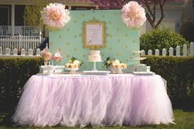 tulle table runner pale pink tutu table skirt bb shower party ideas