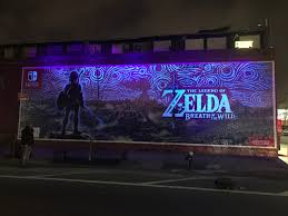 the legend of zelda breath of the wild official wall mural man that mural is killer either way but that night shot is pretty amazing man sad to know this is going to be taken down at some point