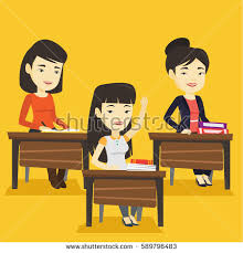 Picture Of Student Sitting At Desk Student Raising Hand Classroom Answer Happy Stock Vector 531028105