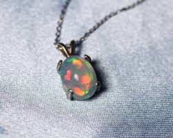 dark blue opal opal necklace genuine opal fire opal silver opal necklace