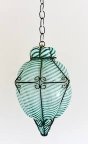 Turquoise Glass Pendant Light Vintage Italian Murano Striped Caged Glass Pendant Light
