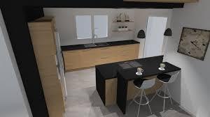 cuisine gris et noir deco cuisine bois clair cuisine bois et gris