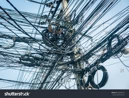 Messy Wires by Tangled Power Lines Very Messy Stock Photo 369828764 Shutterstock