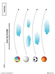balls curved line tracing prewriting worksheet in color