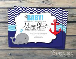 whale baby shower invitations baby shower invitation nautical whales waves anchor