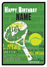tennis birthday personalised birthday card