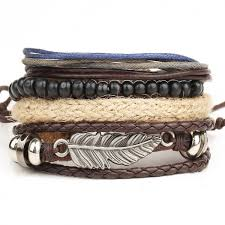 mens jewelry bracelet images 1 set 4pcs leather bracelet men 39 s multi layer bead bracelet jpeg