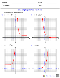 graphing exponential functions worksheets math aids com