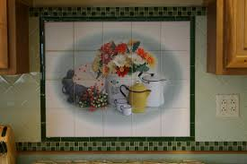fabulous tile murals kitchen backsplash featuring flowers vase