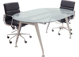 Metal Conference Table 6 Ft 8 Ft Racetrack Shaped Frosted Glass Conference Table With