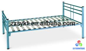 low price single steel bed frame twin size wood slatted metal bed