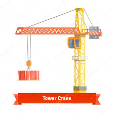 tower crane lifting building materials u2014 stock vector