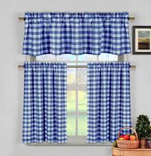 Green And White Gingham Curtains by Blue White Gingham Checkered Plaid Kitchen Curtain Set Duck River