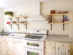 metal wood floating kitchen cabinets mixed white metal appliances