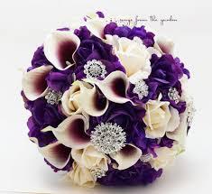 Groom S Boutonniere Bridal Bouquet Callas Purple Lavender Ivory Roses Rhinestones
